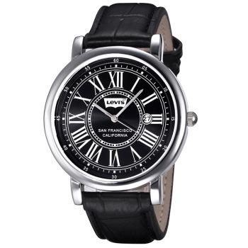 李維斯(Levi's)手表 時尚復古羅馬數字皮帶情侶表男表LTH1802