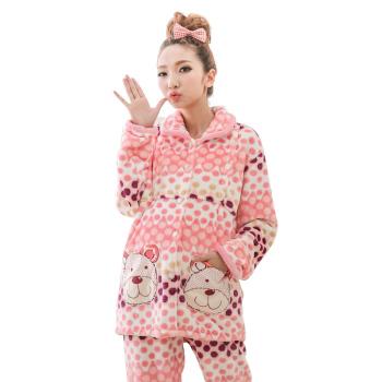 衣衣可心 冬季珊瑚绒月子服法兰绒哺乳衣孕服装套装加厚外出睡衣女