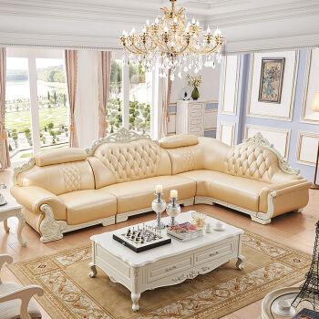 梦美斯宣家具 欧式沙发客厅真皮沙发组合 实木沙发组合法式l型转角