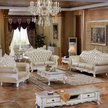 宾轩家具 沙发 欧式沙发 真皮沙发客厅组合 法式实木雕花皮艺沙发2106