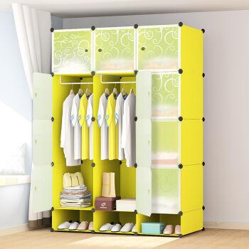 亲亲福居组合式简易衣柜 diy组装树脂衣橱折叠塑料收纳柜yg-1 果绿色6