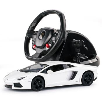 星辉rastar遥控汽车模型兰博基尼LP400方向盘男孩儿童玩具车1:1443000白色车子+方向盘遥控器