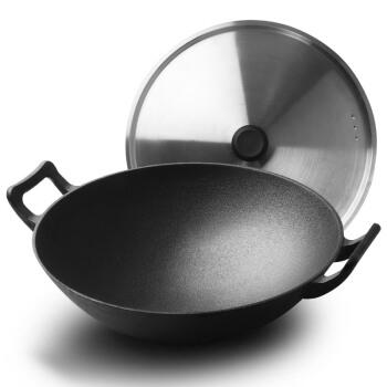 炊大皇炒锅32cm圆底铁锅不锈钢锅盖中式双耳加厚铸铁锅明火燃气煤气灶专用